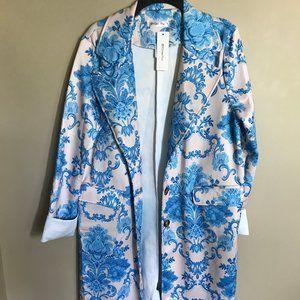 OC Order Plus Cream/Blue Victorian Print Long Coat